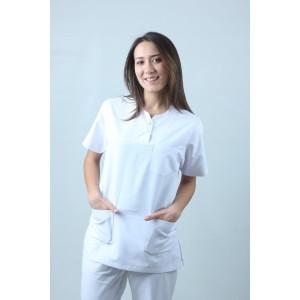 Oval Yaka Çıtçıtlı Cerrahi Kesim Hemşire Forması Tek Üst