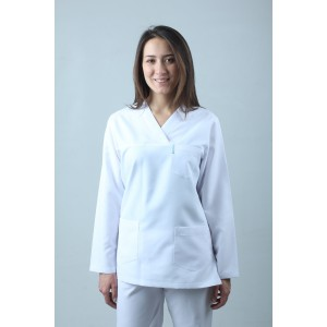 Uzun Kollu V Yaka Hemşire Forması Nöbet Takımı Beyaz