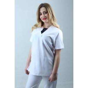 W Yaka Cift Renk Hemşire Forması Tek Üst Beyaz Lacivert
