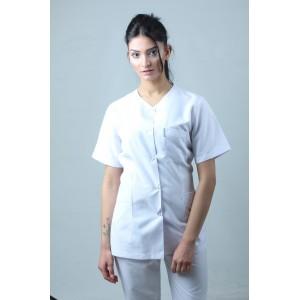 Damla Yaka Ceket Boy Hemşire Forması Önlük Tek Üst Beyaz
